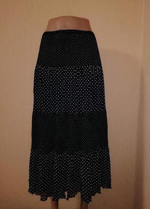 🔥🔥🔥красивая женская черная юбка батального размера в белый горошек ann harvey🔥🔥🔥