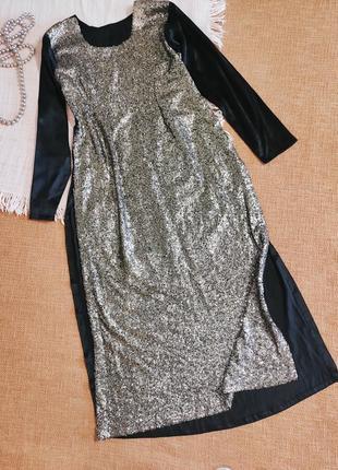 Платье вечернее шикарное блестящее восточное длинное пайетки скидки🌹