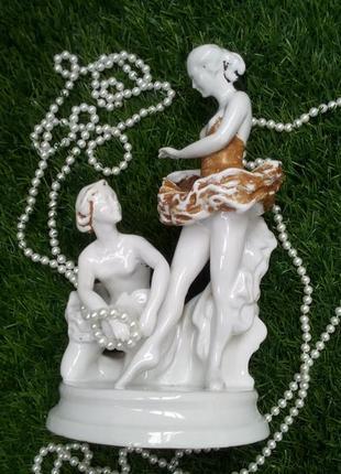 """Две балерины """"перед выступлением"""" киевский экхз фарфоровая статуэтка ссср"""