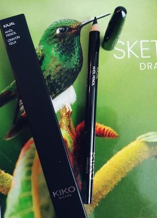 Деревянный карандаш для глаз kiko milano цвет черный