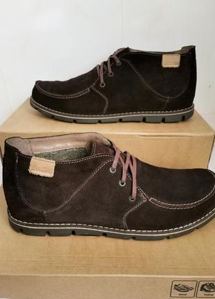 Натуральные замшевые мужские демисезонные туфли, ботинки