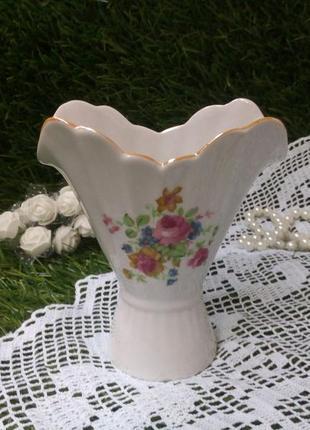Ваза фарфоровая с деколью коростень 90-е ссср, вазочка 12 см салфетница