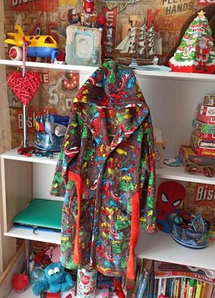 Плюшевый халат george marvel spiderman hulk captain america на 9-10 лет, 134-140 см