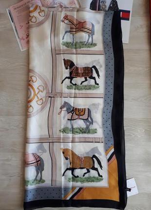 Большой шелковый платок палантин с лошадьми 100% шелк