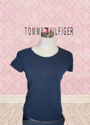 🌹🌹tommy hilfiger оригинал стильная женская футболка т синий с камушками 🌹🌹🌹