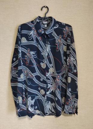 Темно-синяя рубашка сорочка блуза блузка с орнаментом