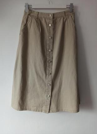 100% котон длинная юбка винтаж с пуговицами глубокие карманы
