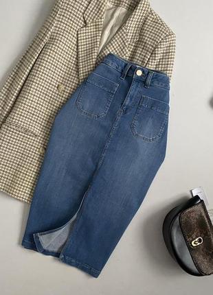 Крутая джинсовая юбка миди marks & spencer