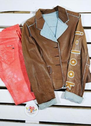 Итальянская куртка ветровка комбинированная кожа+джин