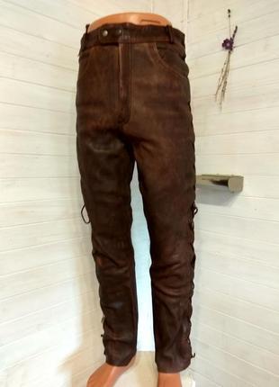 Мужские кожаные байкерские штаны 54 р