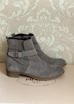 Marc o'polo натуральные замшевые кожаные серые ботинки размер 41-42