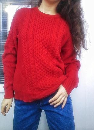 Красивый котоновый красный свитер mango