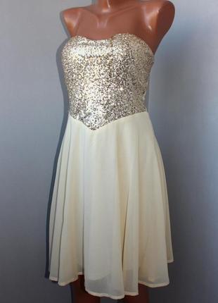 Нарядное шифоновое платье бюстье цвета айвори украшено серебряными пайетками с-м, 44-46