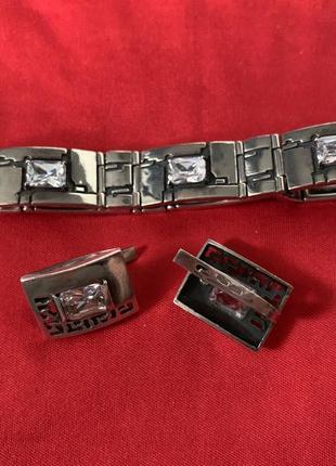 Серебряный браслет с цирконием (серьги в подарок!)