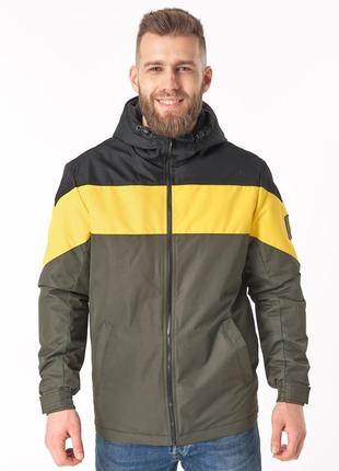 Мужская ветровка т3/1 хаки-желто-черный