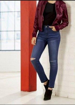 Синие джинсы с разрезами на коленях 38 euro, высокая посадка esmara, германия