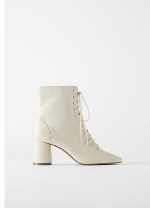 Кожаные ботильоны zara, ботинки zara