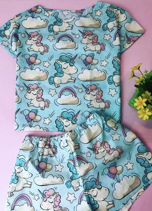 Хлопковая пижама в единороги на девочку рост 135 см