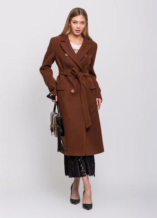 Скидка! стильное женское демисезонное коричневое бронзовое длинное пальто кашемир