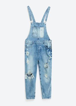 Комбинезон джинс джинсовый брючный с потертостями uk 18
