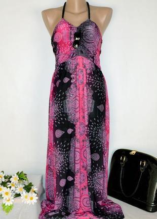 Брендовое яркое розовое нарядное вечернее макси платье club l принт абстракция этикетка