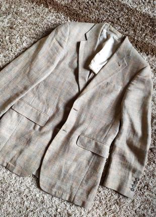 Пиджак блейзер в клетку можно под джинсы 37%шелк33%шелк 30%шерсть guy laroche