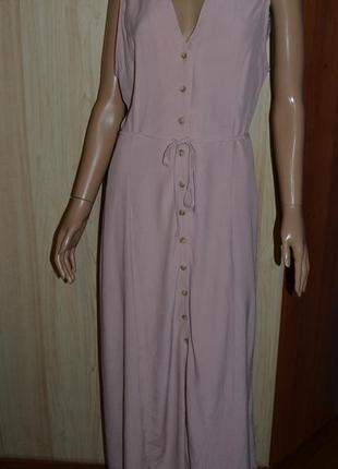 Вискозное пудровое платье с пуговицами new look 14 размер