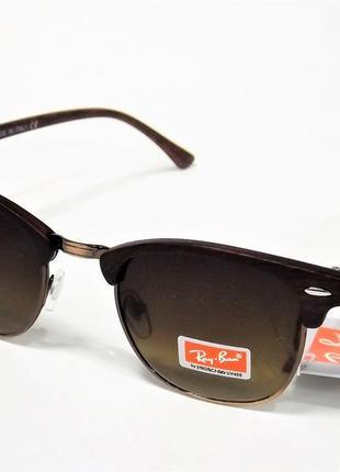 Очки солнцезащитные ray ban 3016 clubmaster  коричневые