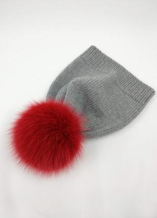 Тоненькая детская шапочка на весну-осень из 100% мериносовой шерсти