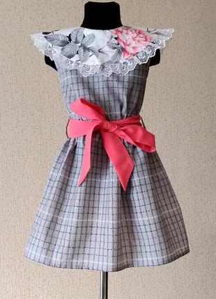 Серое платье. платье для девочки на лето с розовым поясом. детское платье 110-134рр