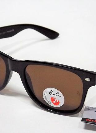 Очки солнцезащитные ray ban 2140 коричневые с поляризацией.