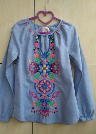 Блузка с вышивкой m&s на 8-9 лет