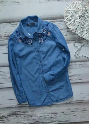 7-8 лет рубашка джинс  с вышивкой  george