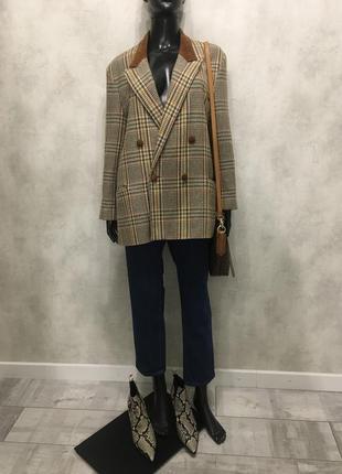 Мега крутой трендовый двубортный шерстяной пиджак оверсайз от deberhems