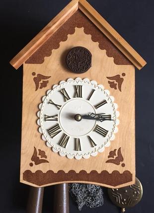 Деревянные часы-ходики с кукушкой
