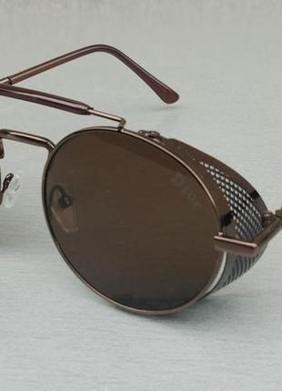 Christian dior стильные солнцезащитные очки унисекс круглые коричневые в металле