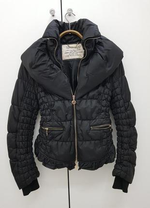 Черная весенняя демисезонная куртка cristina gavioli оригинал приталенная деми весна