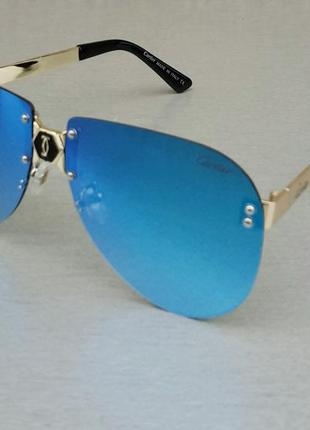 Cartier очки женские солнцезащитные голубые зеркальные