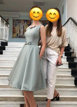 Платье на роспись вечернее нарядное выпускной с пышной юбкой в стиле тиффани ретро