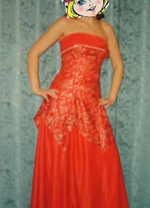 Красное с золотом атласное платье для выпускного