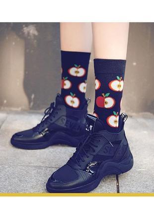 7-38 круті шкарпетки з яскравим принтом носки с яблочком