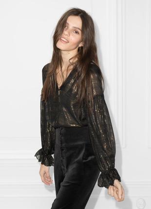Прозрачная шелковая блуза с люрексом & other stories paris atelier