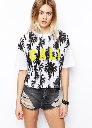 🌿1+1=3 модная укороченная белая футболка оверсайз asos, размер 48 - 50