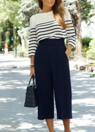 Темно-синие кюлоты, юбка-брюки с зпвышеной талией штаны брюки бриджи