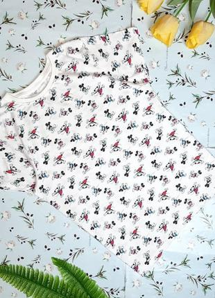 🌿1+1=3 фирменная белая футболка хлопок с микки-маусами disney, размер 46 - 48
