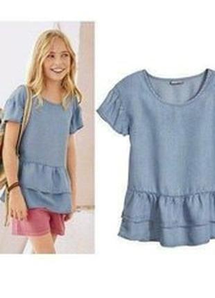 Стильная блуза кофточка с воланами для девочки на 8-9 лет
