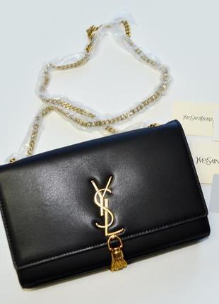 Черная сумка клатч на цепочке yves saint laurent