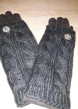 Перчатки женские трикотажные на флисе,вязка снимается