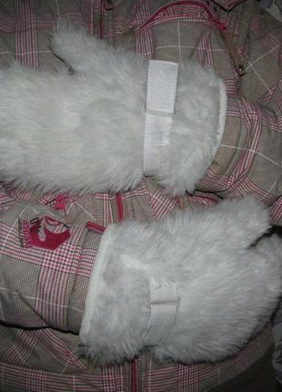 Рукавицы, варежки перчатки m-l на 21-22 см объем руки белые зимние