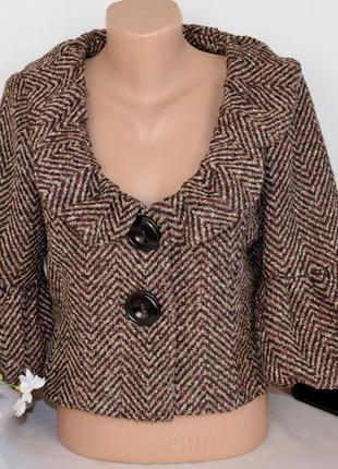 Брендовый коричневый пиджак жакет steps акрил